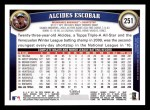 2011 Topps #251  Alcides Escobar  Back Thumbnail