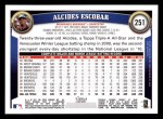 2011 Topps #251  Alcides Escobar  Back Thumbnail
