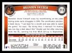 2011 Topps #213  Brandon Snyder  Back Thumbnail