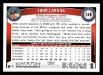 2011 Topps #246  John Lannan  Back Thumbnail