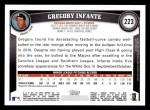 2011 Topps #223  Gregory Infante  Back Thumbnail