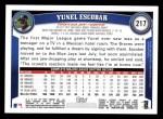 2011 Topps #217  Yunel Escobar  Back Thumbnail