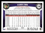 2011 Topps #230  Aaron Cook  Back Thumbnail
