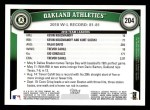 2011 Topps #204   Athletics Team Back Thumbnail