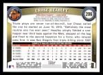2011 Topps #206  Chase Headley  Back Thumbnail