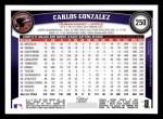 2011 Topps #250  Carlos Gonzalez  Back Thumbnail