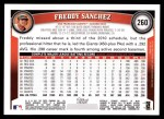 2011 Topps #260  Freddy Sanchez  Back Thumbnail