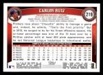 2011 Topps #219  Carlos Ruiz  Back Thumbnail