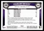 2011 Topps #283   Rockies Team Back Thumbnail