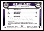 2011 Topps #283   Rockies Team Back Thumbnail