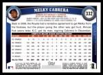 2011 Topps #332  Melky Cabrera  Back Thumbnail