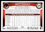 2011 Topps #329  Brett Wallace  Back Thumbnail