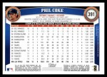 2011 Topps #391  Phil Coke  Back Thumbnail