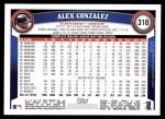 2011 Topps #310  Alex Gonzalez  Back Thumbnail