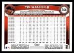 2011 Topps #364  Tim Wakefield  Back Thumbnail