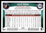 2011 Topps #399  Adam Moore  Back Thumbnail