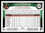 2011 Topps #353  Cliff Pennington  Back Thumbnail