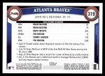 2011 Topps #319   Braves Team Back Thumbnail