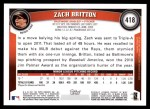 2011 Topps #418  Zach Britton  Back Thumbnail