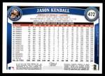 2011 Topps #472  Jason Kendall  Back Thumbnail