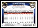 2011 Topps #410  Prince Fielder  Back Thumbnail