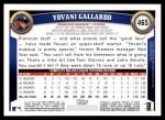 2011 Topps #465  Yovani Gallardo  Back Thumbnail
