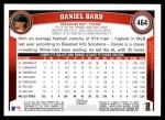 2011 Topps #464  Daniel Bard  Back Thumbnail