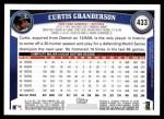 2011 Topps #433  Curtis Granderson  Back Thumbnail