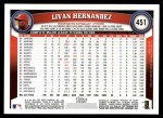 2011 Topps #451  Livan Hernandez  Back Thumbnail