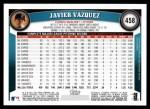2011 Topps #458  Javier Vazquez  Back Thumbnail