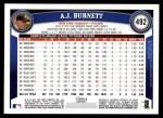 2011 Topps #492  A.J. Burnett  Back Thumbnail