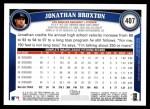 2011 Topps #407  Jonathan Broxton  Back Thumbnail