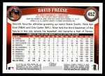 2011 Topps #452  David Freese  Back Thumbnail
