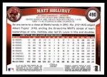 2011 Topps #490  Matt Holliday  Back Thumbnail