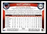 2011 Topps #476  Matt LaPorta  Back Thumbnail
