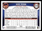 2011 Topps #478  Mike Minor  Back Thumbnail