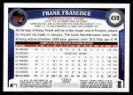 2011 Topps #459  Frank Francisco  Back Thumbnail