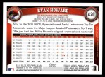 2011 Topps #420  Ryan Howard  Back Thumbnail