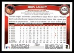 2011 Topps #406  John Lackey  Back Thumbnail