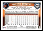 2011 Topps #486  Francisco Rodriguez  Back Thumbnail