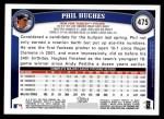 2011 Topps #475  Phil Hughes  Back Thumbnail