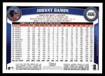 2011 Topps #466  Johnny Damon  Back Thumbnail