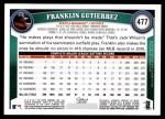 2011 Topps #477  Franklin Gutierrez  Back Thumbnail