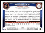 2011 Topps #446  Brandon Beachy  Back Thumbnail
