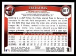 2011 Topps #517  Fred Lewis  Back Thumbnail