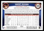 2011 Topps #505  Tommy Hanson  Back Thumbnail