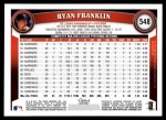 2011 Topps #548  Ryan Franklin  Back Thumbnail