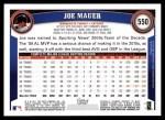 2011 Topps #550  Joe Mauer  Back Thumbnail