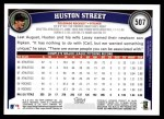 2011 Topps #507  Huston Street  Back Thumbnail