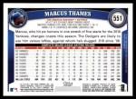 2011 Topps #551  Marcus Thames  Back Thumbnail